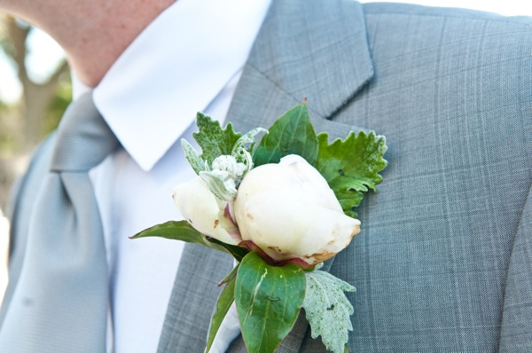 My handsome groom's boutonniere was perfectly in keeping with the English garden theme.
