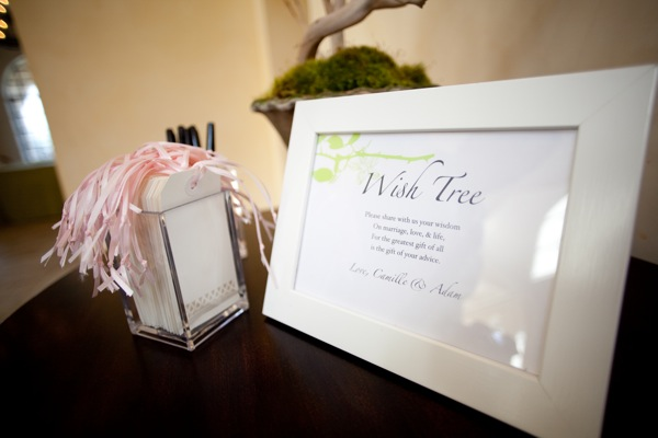 "We asked guests to share their advice & wishes for our marriage, & hang them on the ""Wish Tree."""