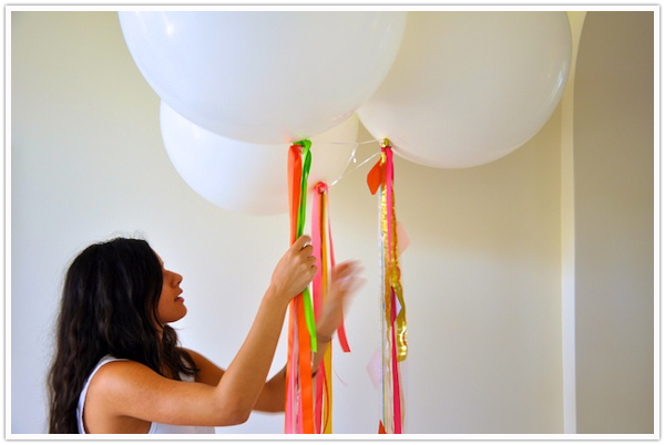 Camille Styles Balloons Colorful DIY Streamers party decor portrait - camille styles events