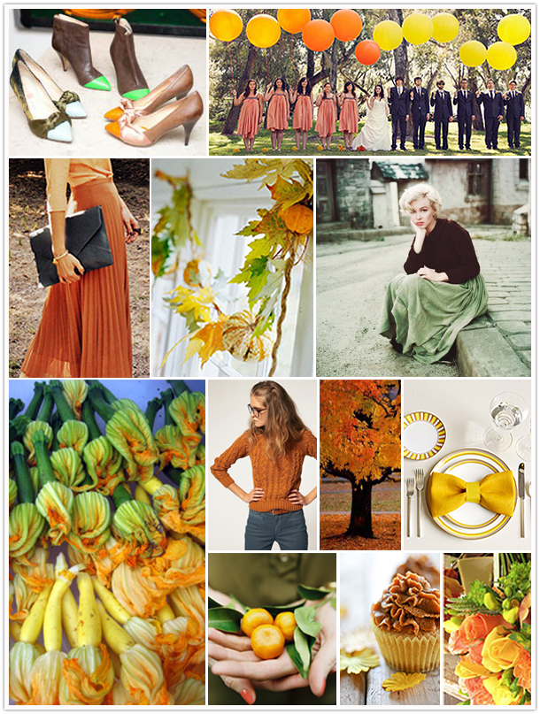 Squash Blossoms Fall Autumn Inspiration Mood Board Gourd Fashion