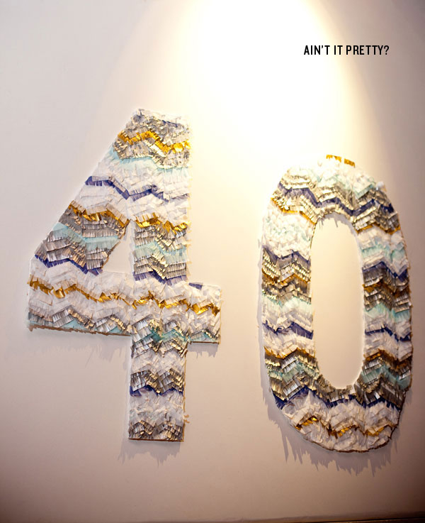 40 4 0 birthday sign number diy instructional decor tissue paper craft zig zag