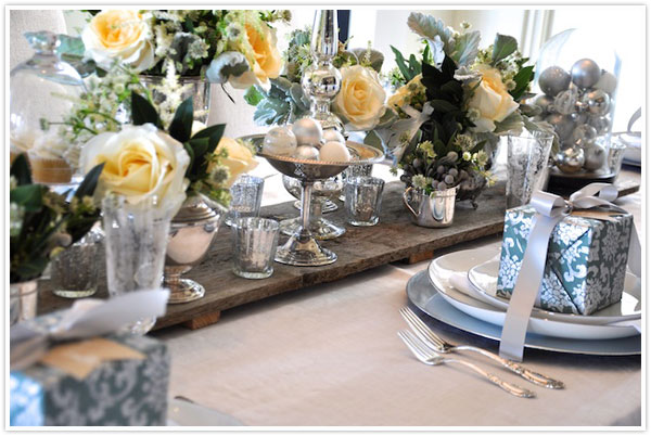 Austin American Statesman Christmas Holiday Table Setting Decor Idea Place Setting Green Sage White Silver & Sage + Silver Holiday Shoot - Camille Styles