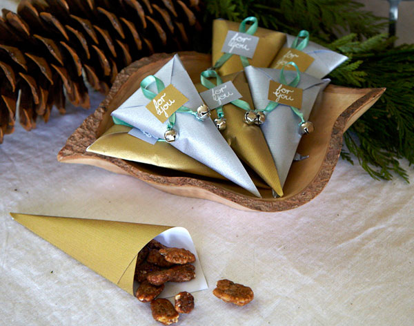 spiced nuts favor cones diy holiday jingle bells craft