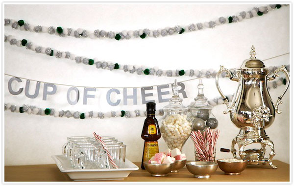 holiday letter garland cup of cheer metallic silver hot cocoa bar christmas
