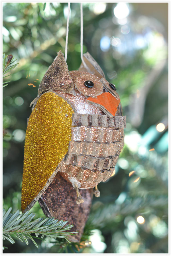 DIY Craft owl ornament carboard bird holiday