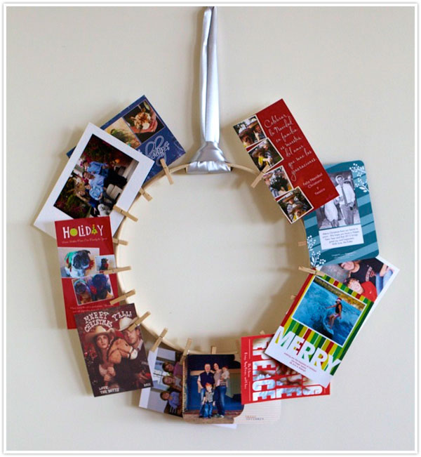 diy holiday christmas card wreath embroidery hoop