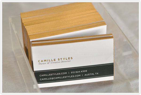 Diy gilded business cards camille styles gold business cards craft diy spray paint colourmoves