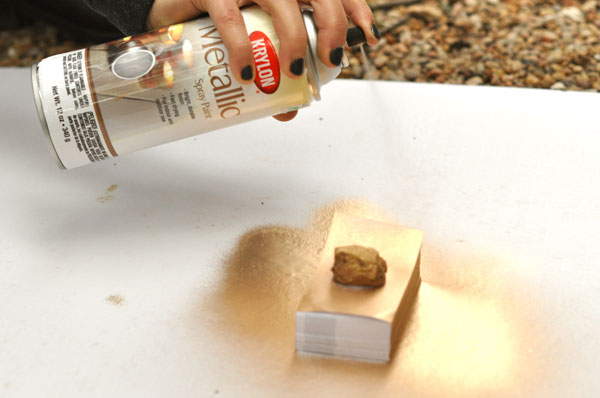 gold business cards craft diy spray paint
