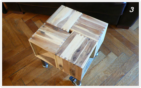 wooden step by step side table end table diy