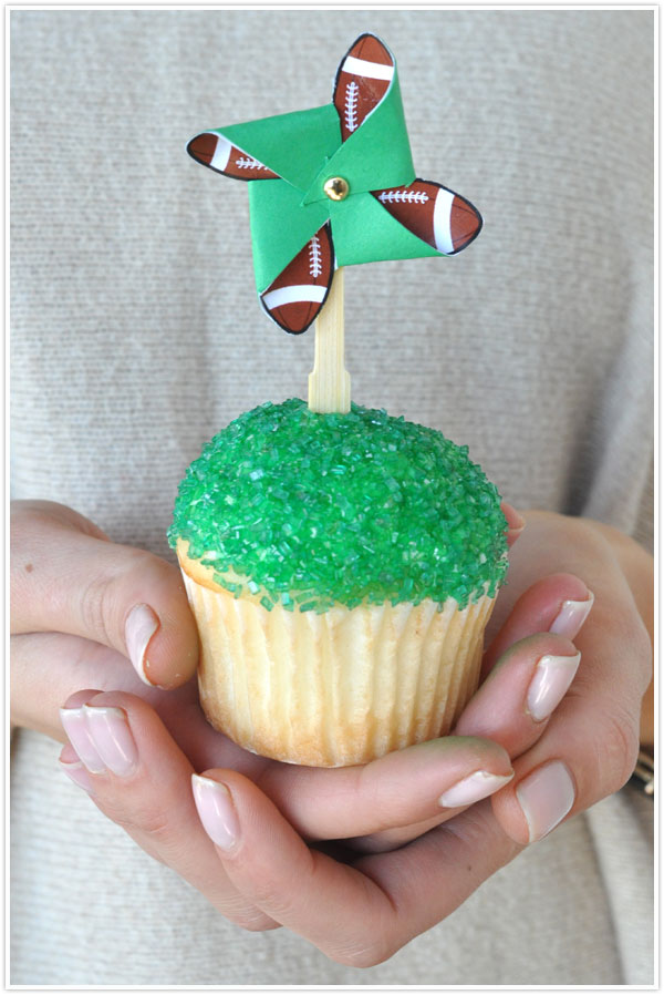 football superbowl pinwheel cupcake topper pinwheel