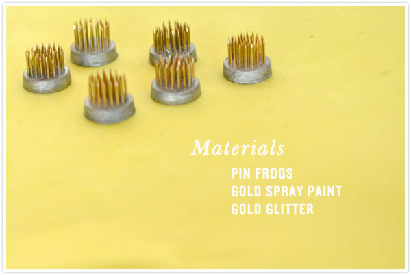 florist pin flog place card holder diy glitter gold