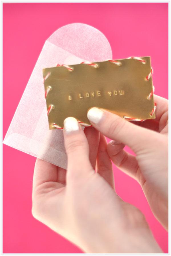 brass metal multimedia valentine card diy keepsake valentine's day