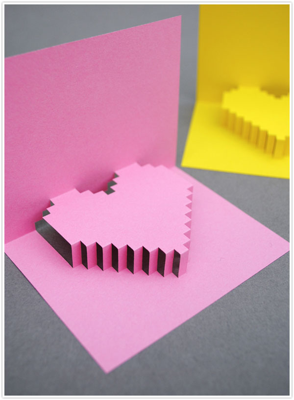 valentines day valentine craft diy project pixelated pop up card pink heart best cutest easy