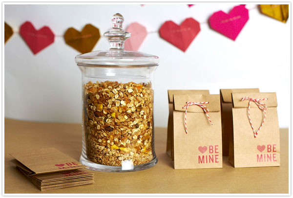 valentine's day granola snack favor bags DIY craft brown paper red white