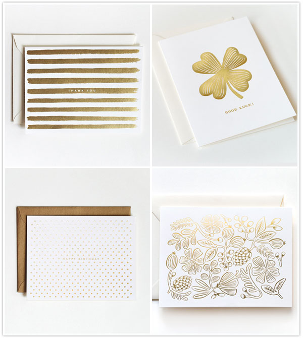 rifle paper company thank you cards stationery gold new cute