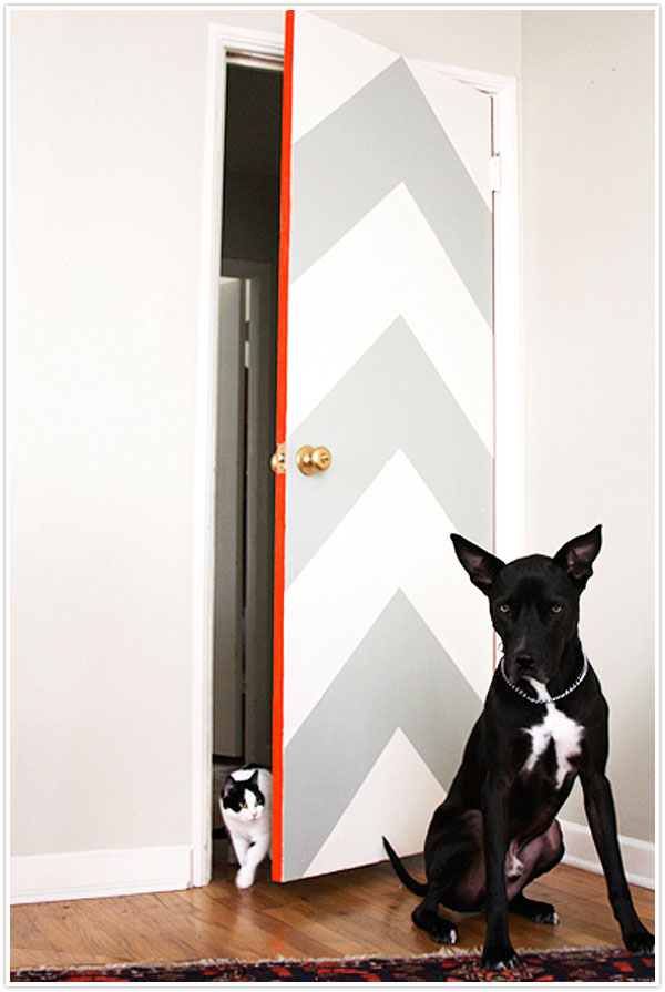 chevron pattern grey white neon door diy paint painting orange