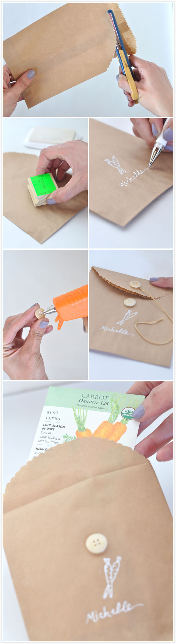 garden party seed packet favor place card DIY vegetable spring party