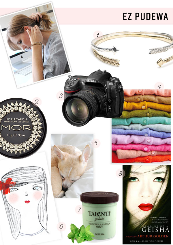 ez pudewa creature comforts my essentials favorite items style products cardigans arrow bracelet memoirs of a geisha interview