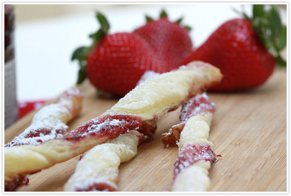 Breakfast Jam Straws strawberry raspberry berry jam jelly dough powdered sugar recipe forgiving martha easy simple