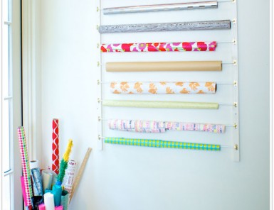 diy storage wrapping paper rack wall rack curtain rods project easy