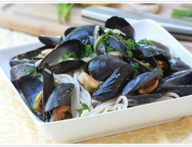 forgiving martha recipe for pasta with mussels steamed in a garlic, white wine and butter sauce