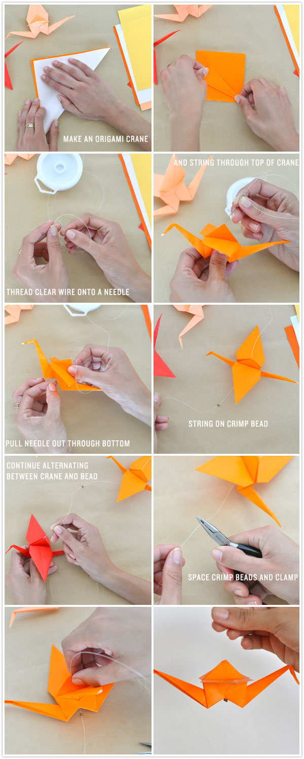 diy craft how to make an origami crane garland streamer hanging installation