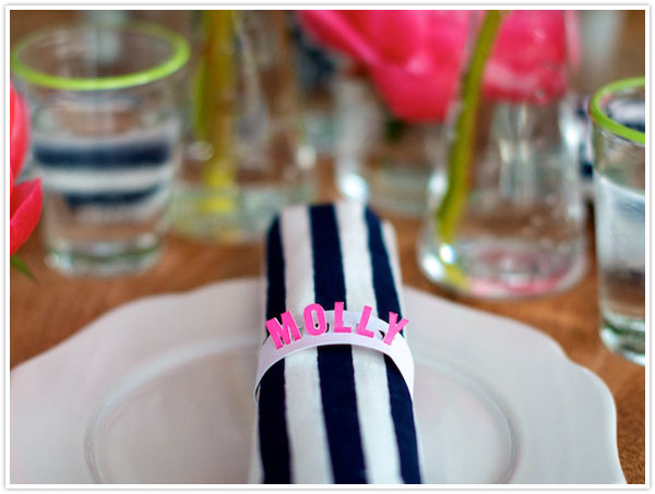 diy napkin ring place card craft project easy paper bright summer colors wedding ideas