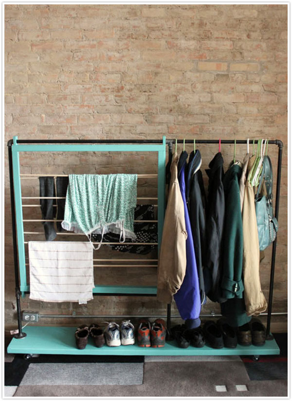 clothing rolling rack storage DIY