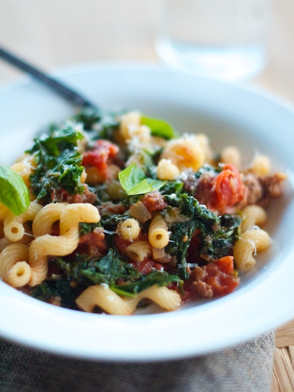 Cavatappi with Sausage & Kale | Camille Styles