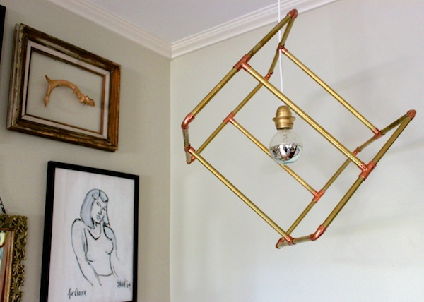 DIY Brass Light Fixture by Claire Zinnecker | Camille Styles
