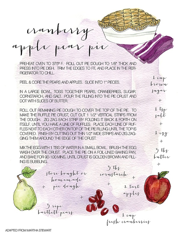 Pear Cranberry Pie Recipe Card | Camille Styles