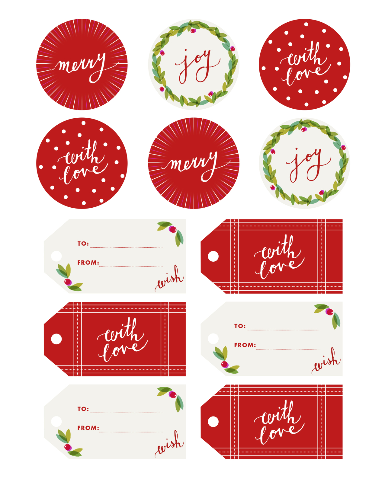 Printable Christmas Name Tags.Fine Print Holly Jolly Gift Tags Camille Styles