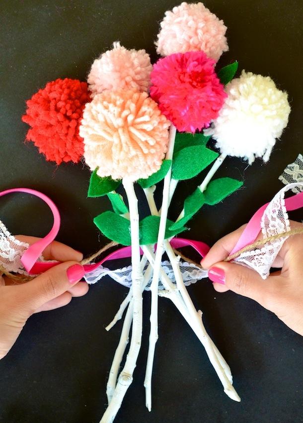 DIY :: Valentine\'s Pom Pom Bouquet - Camille Styles