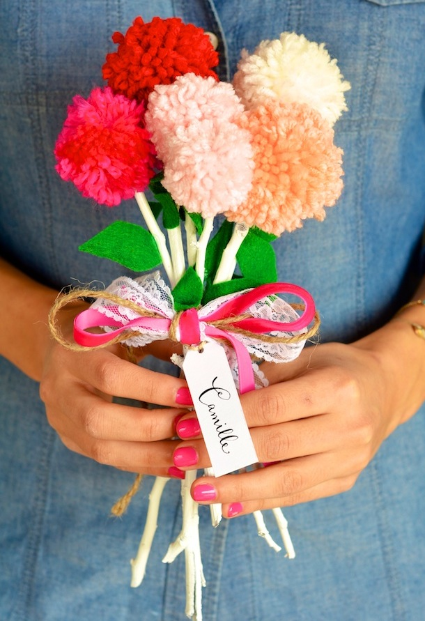 How To Make A Yarn Pom Flower Bouquet Camille Styles