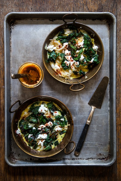 Frittata with Spring Onion, Chard & Chevre | Elizabeth Winslow for Camille Styles