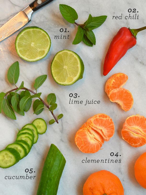 cucumber-clementine salsa ingredients | camille styles