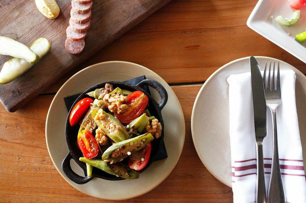 texas okra with walnuts and cherry tomatoes