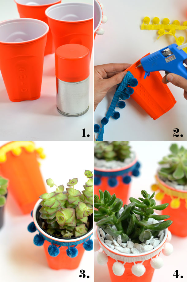DIY Solo Cup Succulent Planters | Camille Styles