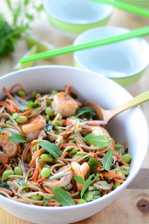 Peanut Noodles with Edamame & Shrimp | Camille Styles