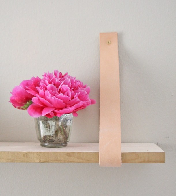 DIY leather-suspended shelf | Claire Zinnecker for Camille Styles