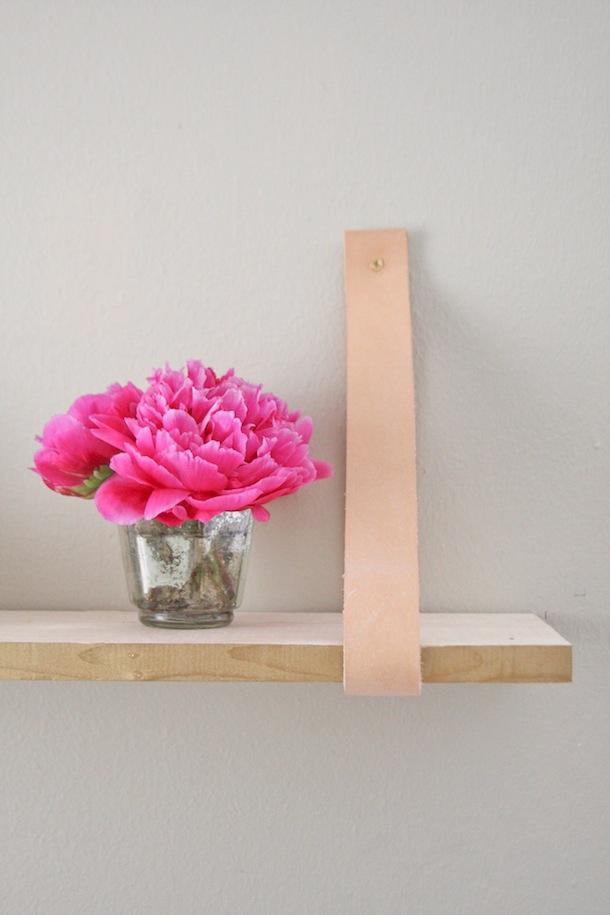 Transformed :: Wood & Leather Suspended Shelf
