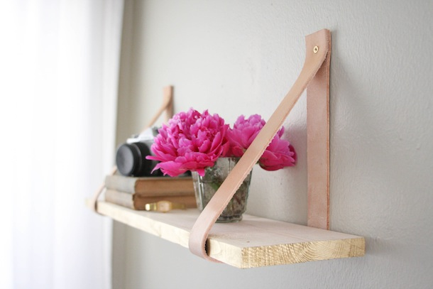 Wood & Leather Suspended Shelf