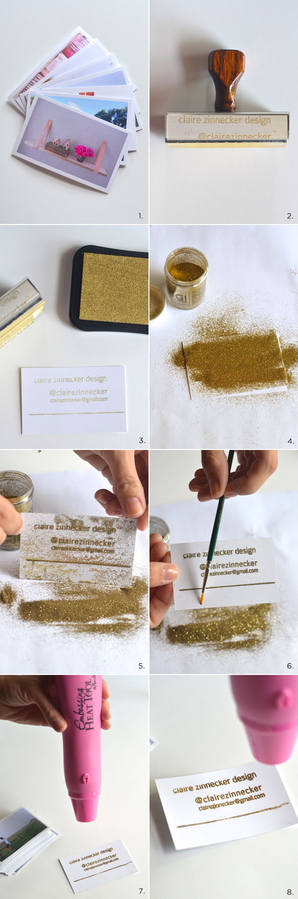 DIY embossed instragram business cards | claire zinnecker for camille styles