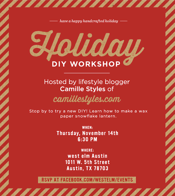 West Elm DIY Workshop Invitation | Camille Styles