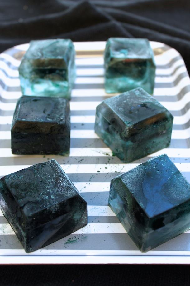 Black Ice Cubes for a Black Licorice Cocktail recipe for Halloween | Camille Styles