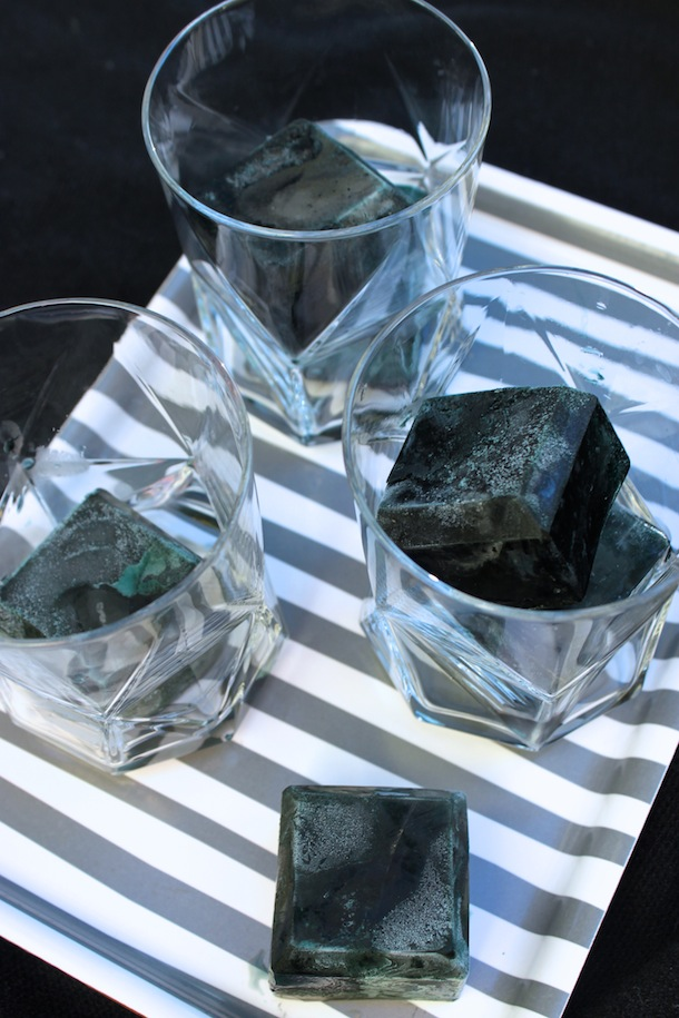 Black Ice Cubes for a Black Licorice Cocktail recipe for Halloween   Camille Styles