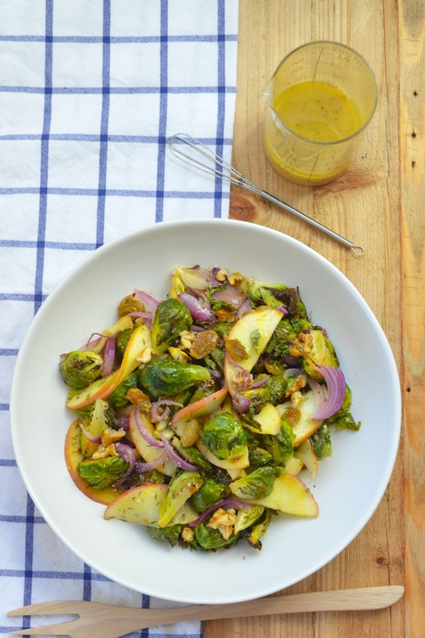 Brussels Sprout & Apple Salad with Cider Vinaigrette | Camille Styles