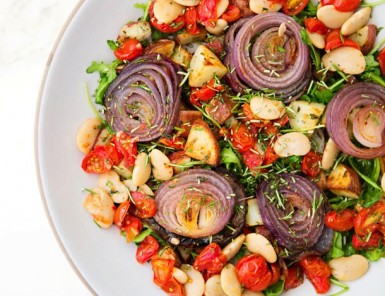 Roasted Vegetable, Bean and Herb Salad | A House in the Hills for Camille Styles