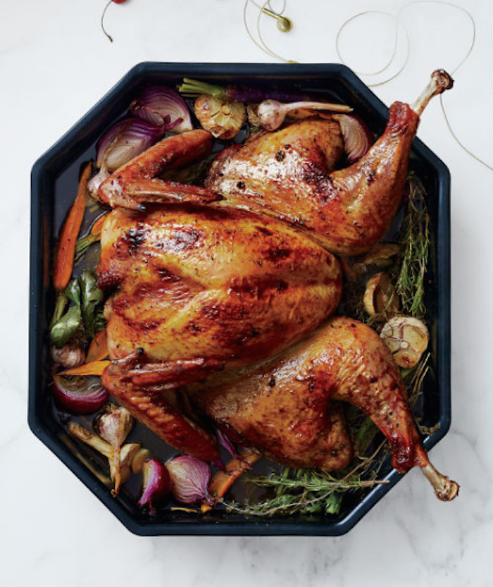 Spatchcocked Thanksgiving Turkey Recipe -- the best way to guarantee crispy skin, and most butchers will even remove the backbone for you.