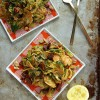 Shredded Brussels sprout with chorizo and paprika | Ten Best Brussels Sprout Recipes | Camille Styles